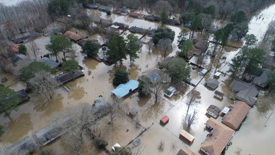 A northeast Jackson, Miss. neighborhood and Harbor Pines in Ridgeland are still under a mandatory evacuation as flooding continues Monday, Feb. 17, 2020.