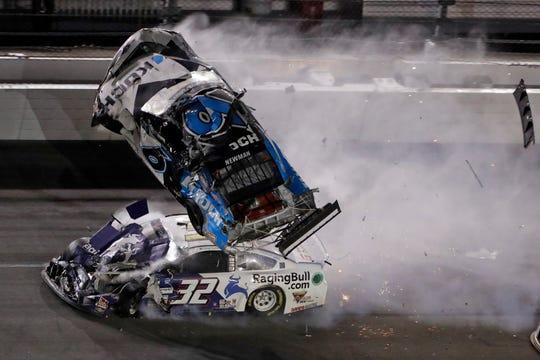 Ryan Newman (6) crashes into Corey LaJoie (32) during the NASCAR Daytona 500 auto race Monday Daytona International Speedway in Daytona Beach, Fla.