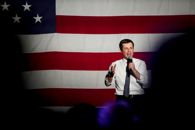 In this Monday, Feb. 17, 2020 photo, Democratic presidential candidate Pete Buttigieg speaks at The Union Event Center in Salt Lake City.