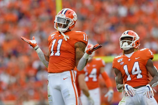 Clemson linebacker Isaiah Simmons (11) is versatile enough to defend against the run, and drop back into pass coverage.