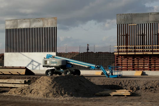 The first panels of levee border wall are seen at a construction site along the U.S.-Mexico border, in Donna, Texas on  Nov. 7, 2019. T