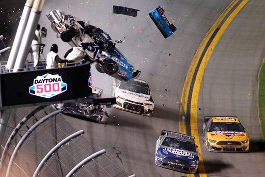Ryan Newman (6) crashes on the last lap of the NASCAR Daytona 500 auto race Monday at Daytona International Speedway.