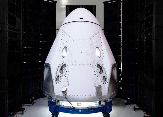 The Crew Dragon spacecraft undergoes acoustic testing in Florida in Feb. 2020.
