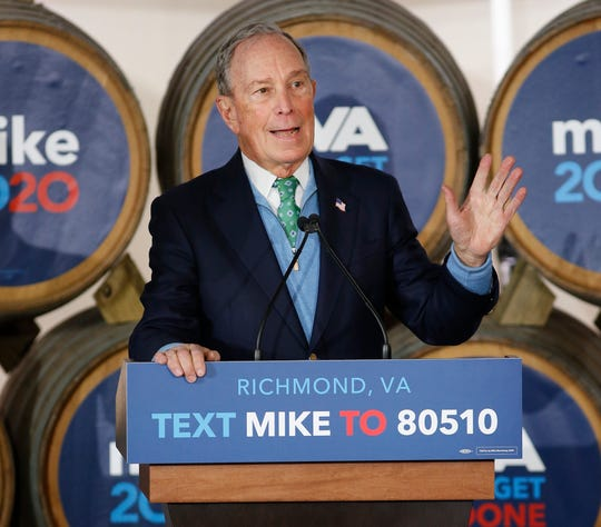 Democratic presidential candidate Mike Bloomberg speaks during a campaign event at Hardywood Park Craft Brewery in Richmond, Va., Saturday, Feb. 15, 2020.