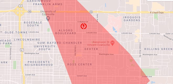 A portion of the area reported to be without power.
