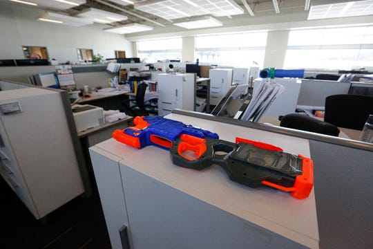 Nerf guns can be found all over the Excel Engineering building for Nerf gun fights.