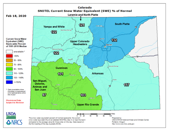 Colorado snowpack Feb. 18, 2020