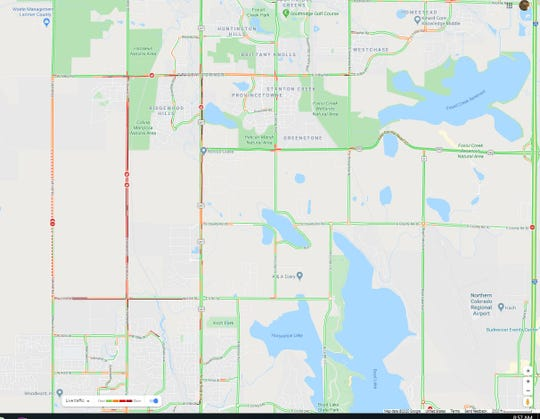 Google Maps' traffic feature shows congestion due to to road closures of Taft Hill Road/Wilson Avenue and Shields Street/Taft Avenue south of Fort Collins, as of 8:57 a.m. Tuesday.