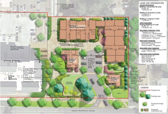 Developers Robin and Christian Bachelet are proposing combining two lots on Prospect Road into one. Their Apex Apartments are on the west side of the property and they are proposing 54 additional units on the east side.