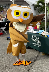 Athene, the new mascot of the Burrowing Owl Festival Wildlife and Environment Exposition, will greet visitors to the event Saturday, February 29, 2020.
