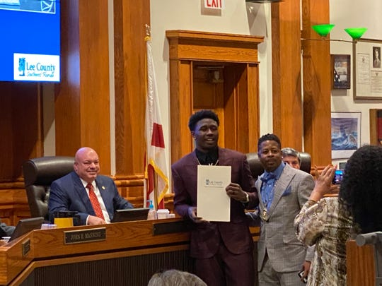 The Lee Board of Commissioners presented South Fort Myers High School product and Kansas City Chiefs wide receiver Sammy Watkins with a ceremonial proclamation Feb. 18, 2020.