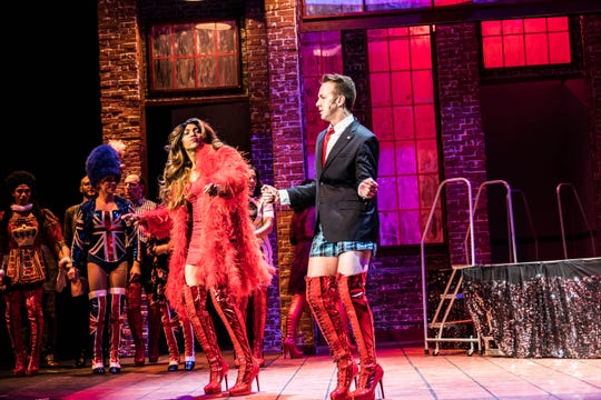 """David LaMarr and Luke Yellin star as Lola and Charlie in Broadway Palm's """"Kinky Boots."""""""
