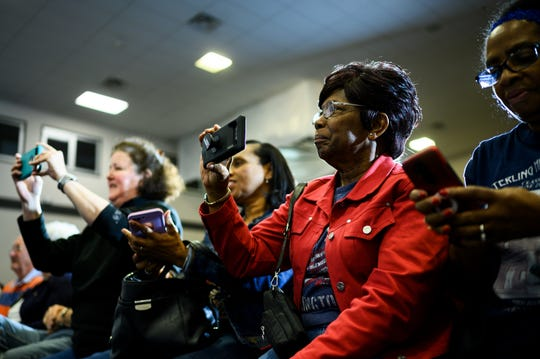 Supporters of democratic presidential hopeful Tom Steyer watch as he campaigns at the West End Community Development Center Monday, Feb. 17, 2020.