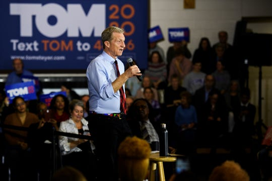 Democratic presidential hopeful Tom Steyer campaigns at the West End Community Development Center Monday, Feb. 17, 2020.
