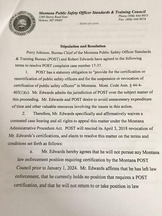 A copy of the stipulation  and resolution between  POST and former Cascade County Sheriff  Bob Edwards.