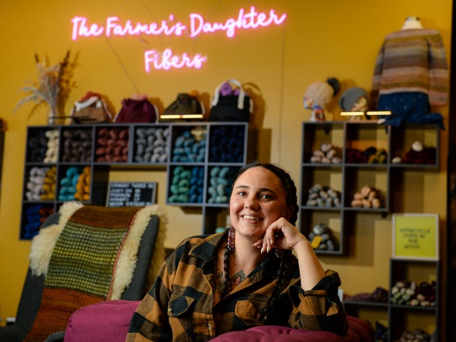 Candice English, owner of The Farmer's Daughter Fibers, hand dyes and ships yarn around the world from her store in Great Falls.