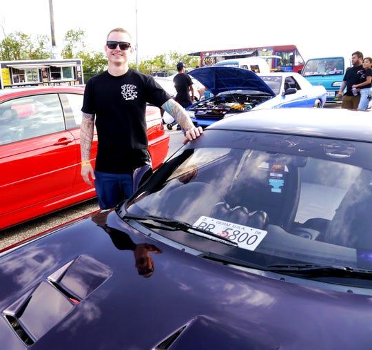 Colby Marchant and his '93 Mazda RX7. Battle Showcase, Guam International Raceway Drag Strip, Yigo, Guam, Feb. 15, 2020