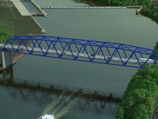 An artist's rendering of the new bridge over the Green River at Spottsville.