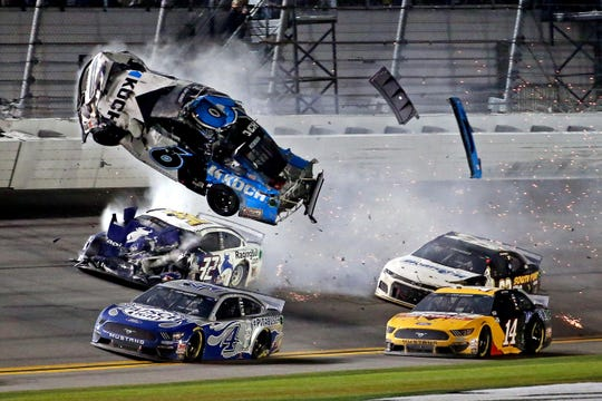 Ryan Newman (6) goes airborne during a last-lap crash in the 2020 Daytona 500. Newman had to be hospitalized after the scary incident.