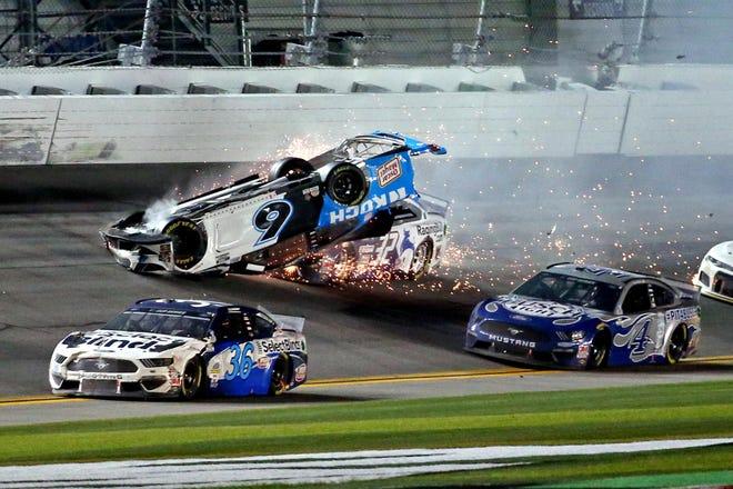 Feb 17, 2020; Daytona Beach, Florida, USA; NASCAR Cup Series driver Ryan Newman (6) wrecks during the Daytona 500 at Daytona International Speedway.