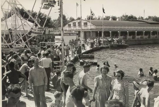 Ballroom area in the background of the midway area of Indiana Beach in 1950.