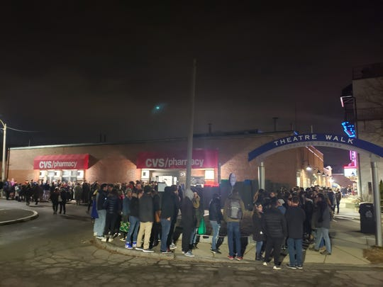 """The line outside the Coolidge Corner Theatre in Brookline, Massachusetts on Feb. 1, for the theatre's debut showing of """"Cats."""" The event drew more than 350 people and prompted the movie theater to make s midnight screening a monthly event."""