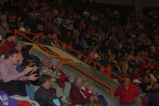 Fans pack into the stands at Oman Arena for basketball tournament action when Jackson still hosted the NAIA tournament in 2008.