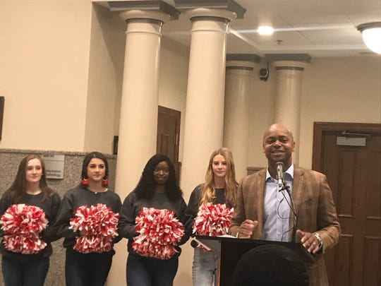 Dexter Williams, head coach for the Jackson Underdawgs, speaks at a press conference announcing The Basketball Tournament is coming to Jackson on Feb. 18, 2020.
