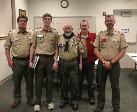 James Walker Whitehead, second from left, earned his Eagle Scout award in January 2020. He is joined by, from left, Tommy Whitehead (Troop 157 assistant Scoutmaster), Ted Hatfield (Great Smoky Mountain Council Echota Eagle Scout board representative), Bill Cocran (Echota Eagle Scout board member) and Tommy Campbell (Troop 157 Scoutmaster).