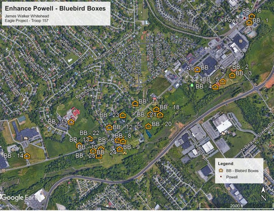 This is a map of the locations of the bluebird boxes placed around Powell in January 2020.