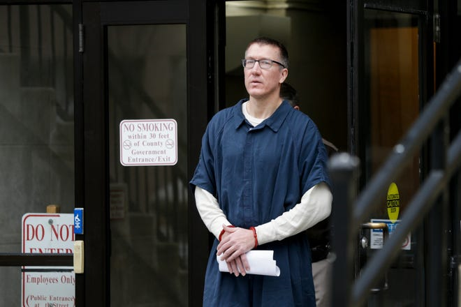 Joseph W. Kruger is led out of Superior Court 2 after a change of plea hearing in front of Tippecanoe Superior 2 Judge Steven Meyer, Tuesday, Feb. 18, 2020 at the Tippecanoe County Courthouse in Lafayette. Kruger plead guilty to one count armed robbery, two counts of robbery, and one count of attempted armed robbery. He also admitted to being an habitual offender.
