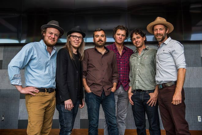 The Grammy-winning bluegrass band The Steep Canyon Rangers (from left to right, Mike Ashworth, Nicky Sanders, Mike Guggino, Woody Platt, Barrett Smith, Graham Sharp) call Asheville, N.C., home. (Courtesy Steep Canyon Rangers)
