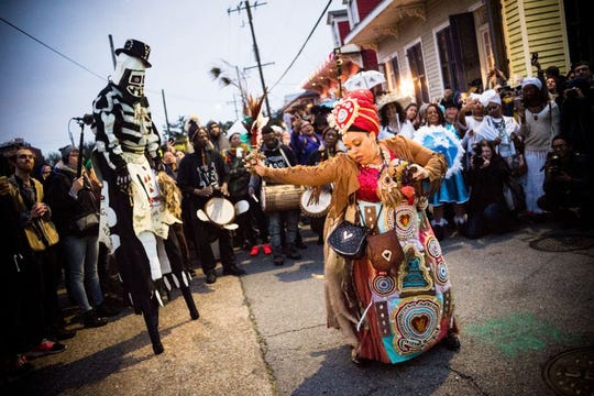 On Mardi Gras day 2018, the traditional Skull and Bones Gang wake up residents of the Treme neighborhood of New Orleans.