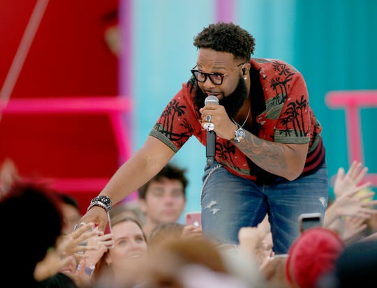 """Blanco Brown performs """"The Git Up"""" at the Teen Choice Awards on Sunday, Aug. 11, 2019, in Hermosa Beach, Calif. (Photo by Danny Moloshok/Invision/AP)"""