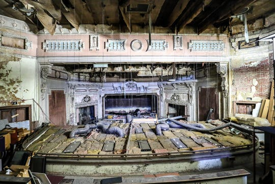 On the upper floor of Launch Louisville on East Broadway you can still see the portions of the former Broadway Theater on Feb 18, 2020.  On the bottom of this image you can see the drop ceiling for the main floor below.