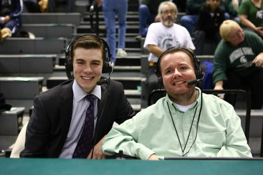 Michigan State women's basketball radio color analyst Mo Gerhardt, right, is pictured with play-by-play Keaton Gillogly. Gerhardt is fighting his way back courtside after some health issues led to spending five months in the hospital.