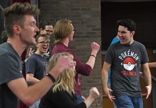 "The cast of ""Back to the Divine Comedy"" rehearse a musical number Monday night at the Ohio State University at Mansfield."