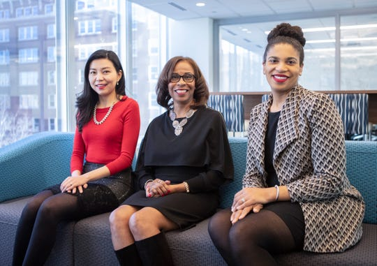 From left: Cathy Lu, affinity strategy marketplace manager; Lynne Walker, director of affinity strategy; and Rachael Kalobwe, affinity strategy senior consultant, pose for a photo at the First Horizon headquarters Feb. 14, 2020.