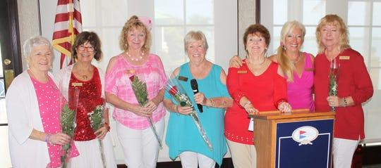 February birthday ladies Joyce Kaelin, JoAnn Brandau, Cindy Crane, Patty Larkin, Trisha Pease, Rose Kraemer and Bobbie Ordejia.