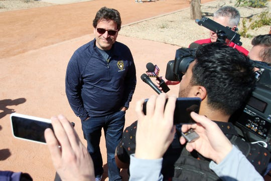Milwaukee Brewers principal owner Mark Attanasio addresses the media Tuesday at the team's spring training facility in Phoenix.