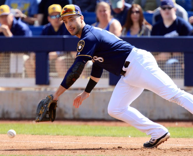 Ryan Braun, shown playing first base during spring training in 2018, needs to find a first baseman's mitt as he will see sime tere during camp and the regular season.