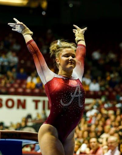 Jan 13, 2017; Tuscaloosa, AL, USA; Alabama LSU gymnastics at Coleman Coliseum. Mandatory Credit: Butch Dill-USA TODAY Sports