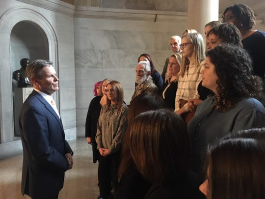 Dozens of advocates for suicide prevention talked with Gov. Bill Lee on Feb. 12, 2020.