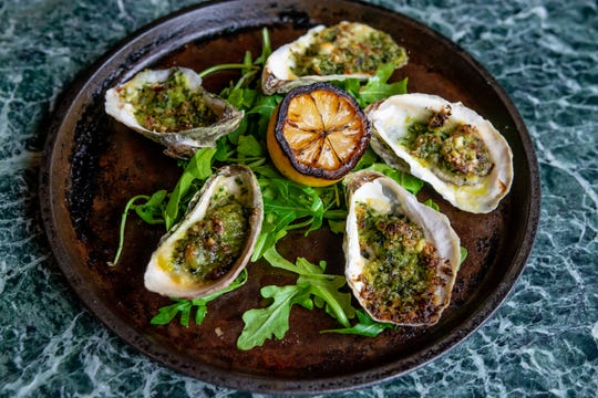 Oysters Rockefeller at Ellington's in The Fairlane Hotel.