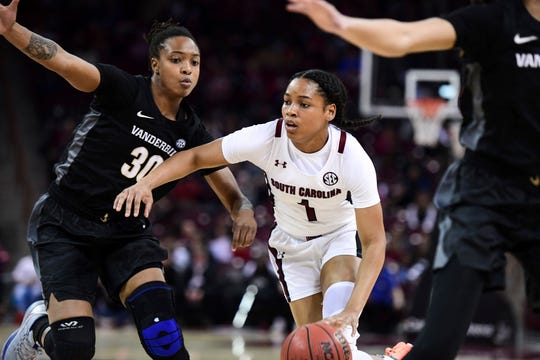 South Carolina guard Zia Cooke (1) dribbles against Vanderbilt guard Lea Lea Carter (30) during the first half on Monday, Feb. 17, 2020, in Columbia, S.C.