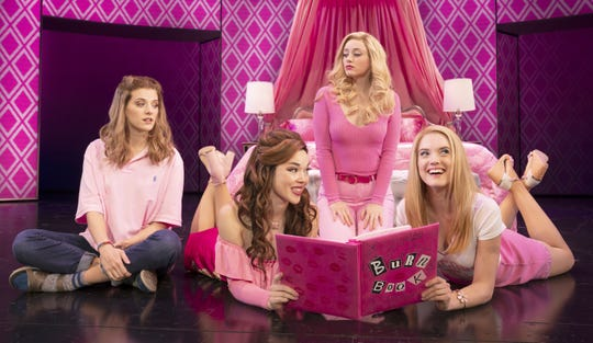 "Danielle Wade (Cady Heron), from left, Megan Masako Haley (Gretchen Wieners), Mariah Rose Faith (Regina George) and Jonalyn Saxer (Karen Smith) star in the national touring company of ""Mean Girls."""