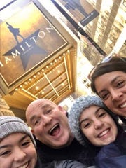 Brad Schmitt on a 2018 road trip to see Hamilton in Chicago with good friend Vanessa Meacham, right, and her daughters