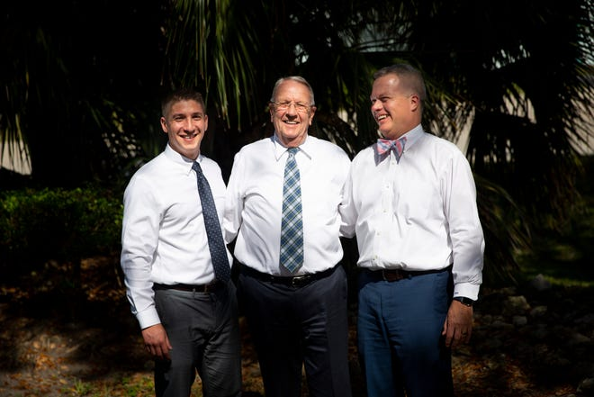 From left to right, Jeff Nieves, Michael Whyte, and Michael Hoyt pose for a portrait at Legacy Options Funeral and Cremation Services in Naples on Friday, February 14, 2020. The father, son-in-law, and grandson trio run the funeral services business together in Naples, and plan to expand to Bonita Springs in March.