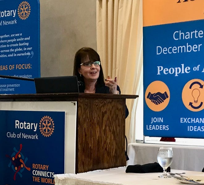 Ohio Supreme Court Justice Judy French takes a question from the audience Tuesday at the Newark Rotary Club lunch at Moundbuilders Country Club.