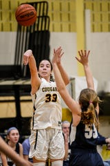 Cresskill High School plays Waldwick in girls basketball in Cresskill on Tuesday February 18, 2020. Cresskill #33 Colleen McQuillen shoots the ball.